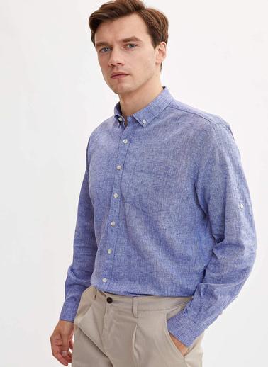 DeFacto Keten Modern Fit Gömlek Mavi